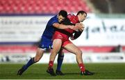 9 March 2018; Paul Asquith of Scarlets is tackled by Ross Byrne of Leinster during the Guinness PRO14 Round 17 match between Scarlets and Leinster at Parc Y Scarlets in Llanelli, Wales. Photo by Ramsey Cardy/Sportsfile