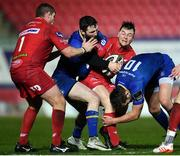 9 March 2018; Ryan Conbeer of Scarlets is tackled by Barry Daly, left, and Ross Byrne of Leinster during the Guinness PRO14 Round 17 match between Scarlets and Leinster at Parc Y Scarlets in Llanelli, Wales. Photo by Ramsey Cardy/Sportsfile