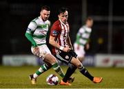 9 March 2018; Aaron McEneff of Derry City in action against Brandon Miele of Shamrock Rovers during the SSE Airtricity League Premier Division match between Shamrock Rovers and Derry City at Tallaght Stadium in Tallaght, Dublin. Photo by Seb Daly/Sportsfile