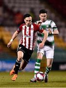 9 March 2018; Aaron McEneff of Derry City in action against Ronan Finn of Shamrock Rovers during the SSE Airtricity League Premier Division match between Shamrock Rovers and Derry City at Tallaght Stadium in Tallaght, Dublin. Photo by Seb Daly/Sportsfile