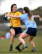 10 March 2018; Niamh Kelly of DCU in action against Lucy McCartan of UCD during the Gourmet Food Parlour HEC O'Connor Cup semi-final match between Dublin City University and University College Dublin at IT Blanchardstown in Blanchardstown, Dublin. Photo by David Fitzgerald/Sportsfile