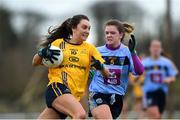 10 March 2018; Niamh Kelly of DCU in action against Niamh Carr of UCD during the Gourmet Food Parlour HEC O'Connor Cup semi-final match between Dublin City University and University College Dublin at IT Blanchardstown in Blanchardstown, Dublin. Photo by David Fitzgerald/Sportsfile