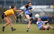 10 March 2018; Julia Buckley of UCD in action against Hannah Hegarty of DCU during the Gourmet Food Parlour HEC O'Connor Cup semi-final match between Dublin City University and University College Dublin at IT Blanchardstown in Blanchardstown, Dublin. Photo by David Fitzgerald/Sportsfile