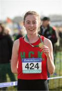 10 March 2018; Sarah Healy of Holy Child Killiney, Co Dublin, after winning the senior girls 2500m during the Irish Life Health All Ireland Schools Cross Country at Waterford IT in Waterford. Photo by Matt Browne/Sportsfile