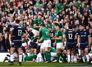 10 March 2018; Sean Cronin, right, is congratulated by his Ireland team-mates Conor Murray, top, and Jacob Stockdale, 11, after scoring his side's fourth try during the NatWest Six Nations Rugby Championship match between Ireland and Scotland at the Aviva Stadium in Dublin. Photo by Stephen McCarthy/Sportsfile