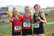 10 March 2018; Sarah Healy, centre, of Holy Child Killiney, Co Dublin, after winning the senior girls 2500m with second place Abbie Taylor, left, of Wesley College Dublin and third place Niamh Ni Chiardha, right, of Colaiste Losagain Dublin during the Irish Life Health All Ireland Schools Cross Country at Waterford IT in Waterford. Photo by Matt Browne/Sportsfile