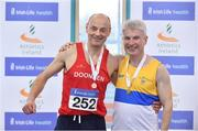 10 March 2018; Tim Ryan of Dooneen A.C., Co Limerick, and Pat Logan of St. Annes A.C., Co Antrim, with their M55 200m medals during the Irish Life Health National Masters Indoor Championships at Athlone IT in Athlone, Co Westmeath. Photo by Sam Barnes/Sportsfile