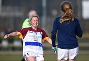 10 March 2018; Shauna Molloy of UL runs to celebrate with team mate Aisling McCarthy following their side's victory in the Gourmet Food Parlour HEC O'Connor Cup semi-final match between University of Limerick and University College Cork at IT Blanchardstown in Blanchardstown, Dublin. Photo by David Fitzgerald/Sportsfile