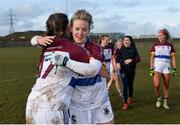 10 March 2018; Rebecca O'Malley, left, and Fiona McHale of UL celebrate after the Gourmet Food Parlour HEC O'Connor Cup semi-final match between University of Limerick and University College Cork at IT Blanchardstown in Blanchardstown, Dublin. Photo by Piaras Ó Mídheach/Sportsfile