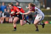 10 March 2018; Mairéad Corkery of UCC in action against Louise Ward of UL during the Gourmet Food Parlour HEC O'Connor Cup semi-final match between University of Limerick and University College Cork at IT Blanchardstown in Blanchardstown, Dublin. Photo by Piaras Ó Mídheach/Sportsfile