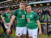 10 March 2018; Garry Ringrose, left, and Jordan Larmour of Ireland celebrate after the NatWest Six Nations Rugby Championship match between Ireland and Scotland at the Aviva Stadium in Dublin. Photo by Brendan Moran/Sportsfile