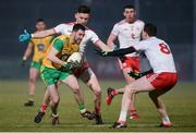 10 March 2018; Mark McHugh of Donegal in action against Pádraig Hampsey and Colm Cavanagh of Tyrone match between Tyrone and Donegal at Healy Park in Omagh, Co Tyrone. Photo by Oliver McVeigh/Sportsfile