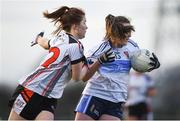 10 March 2018; Aimee Mackin of UUJ in action against Aine Breen of IT Sligo during the Gourmet Food Parlour HEC Lynch Cup Final match between University of Ulster Jordanstown and Institute of Technology Sligo at IT Blanchardstown in Blanchardstown, Dublin. Photo by David Fitzgerald/Sportsfile