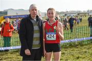 10 March 2018; President of the Irish Schools Billy Delaney with Sarah Healy of Holy Child Killiney, Co. Dublin, after she won the senior girls 2500m during the Irish Life Health All Ireland Schools Cross Country at Waterford IT in Waterford. Photo by Matt Browne/Sportsfile