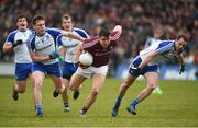 11 March 2018; Damien Comer of Galway in action against Niall Kearns, left, and Conor Boyle of Monaghan during the Allianz Football League Division 1 Round 5 match between Galway and Monaghan at Pearse Stadium in Galway. Photo by Diarmuid Greene/Sportsfile