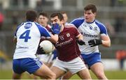 11 March 2018; Patrick Sweeney of Galway in action against Ryan Wylie, left, and Paraic McGuirk of Monaghan during the Allianz Football League Division 1 Round 5 match between Galway and Monaghan at Pearse Stadium in Galway. Photo by Diarmuid Greene/Sportsfile