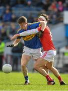 11 March 2018; John Meagher of Tipperary in action against Declan Byrne of Louth during the Allianz Football League Division 2 Round 5 match between Tipperary and Louth at Semple Stadium in Thurles, Co Tipperary. Photo by Sam Barnes/Sportsfile
