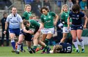 11 March 2018; Katie Fitzhenry of Ireland is tackled by Sarah Law of Scotland during the Women's Six Nations Rugby Championship match between Ireland and Scotland at Donnybrook Stadium in Dublin. Photo by David Fitzgerald/Sportsfile