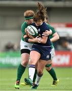 11 March 2018; Lisa Thompson of Scotland is tackled by Fiona Reidy of Ireland during the Women's Six Nations Rugby Championship match between Ireland and Scotland at Donnybrook Stadium in Dublin. Photo by David Fitzgerald/Sportsfile