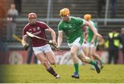 11 March 2018; Seamus Flanagan of Limerick in action against Conor Whelan of Galway during the Allianz Hurling League Division 1B Round 5 match between Galway and Limerick at Pearse Stadium in Galway. Photo by Diarmuid Greene/Sportsfile