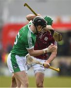 11 March 2018; Barry Murphy of Limerick and Adrian Touhy of Galway tussle off the ball during the Allianz Hurling League Division 1B Round 5 match between Galway and Limerick at Pearse Stadium in Galway. Photo by Diarmuid Greene/Sportsfile