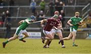 11 March 2018; Greg Lally of Galway in action against David Reidy of Limerick during the Allianz Hurling League Division 1B Round 5 match between Galway and Limerick at Pearse Stadium in Galway. Photo by Diarmuid Greene/Sportsfile