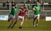 11 March 2018; Greg Lally of Galway in action against Barry Murphy of Limerick during the Allianz Hurling League Division 1B Round 5 match between Galway and Limerick at Pearse Stadium in Galway. Photo by Diarmuid Greene/Sportsfile