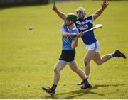 11 March 2018; Johnny McCaffrey of Dublin in action against Lee Cleere of Laois during the Allianz Hurling League Division 1B Round 5 match between Laois and Dublin at O'Moore Park in Portlaoise, Co Laois. Photo by Philip Fitzpatrick/Sportsfile