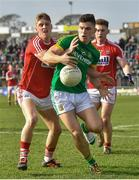 11 March 2018: Donal Lenihan of Meath in action against Sean White of Cork  during the Allianz Football League Division 2 Round 5 match between Meath and Cork at Páirc Tailteann in Navan, Co Meath. Photo by Oliver McVeigh/Sportsfile
