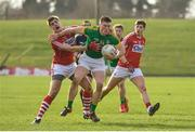 11 March 2018: Thomas O'Reilly of Meath in action against Ian Maguire of Cork  during the Allianz Football League Division 2 Round 5 match between Meath and Cork at Páirc Tailteann in Navan, Co Meath. Photo by Oliver McVeigh/Sportsfile
