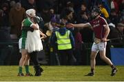 11 March 2018; Cian Lynch of Limerick celebrates with his mother Valerie at the final whistle as Paul Mannion of Galway offers a handshake after the Allianz Hurling League Division 1B Round 5 match between Galway and Limerick at Pearse Stadium in Galway. Photo by Diarmuid Greene/Sportsfile