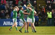 11 March 2018; Colin Ryan, Dan Morrissey and Sean Finn of Limerick celebrate at the final whistle after the Allianz Hurling League Division 1B Round 5 match between Galway and Limerick at Pearse Stadium in Galway. Photo by Diarmuid Greene/Sportsfile