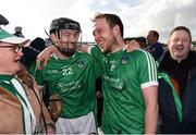 11 March 2018; Graeme Mulcahy and Paul Browne of Limerick celebrate after the Allianz Hurling League Division 1B Round 5 match between Galway and Limerick at Pearse Stadium in Galway. Photo by Diarmuid Greene/Sportsfile