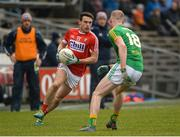 11 March 2018; John O'Rourke of Cork in action against Brian Conlon of Meath during the Allianz Football League Division 2 Round 5 match between Meath and Cork at Páirc Tailteann in Navan, Co Meath. Photo by Oliver McVeigh/Sportsfile