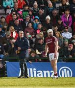 11 March 2018; Limerick manager John Kiely alongside Joe Canning as he prepares to take a sideline ball during the Allianz Hurling League Division 1B Round 5 match between Galway and Limerick at Pearse Stadium in Galway. Photo by Diarmuid Greene/Sportsfile