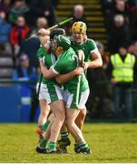 11 March 2018; Colin Ryan, Sean Finn, and Dan Morrissey of Limerick celebrate at the final whistle after the Allianz Hurling League Division 1B Round 5 match between Galway and Limerick at Pearse Stadium in Galway. Photo by Diarmuid Greene/Sportsfile