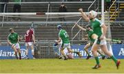11 March 2018; Kyle Hayes of Limerick celebrates after scoring his side's second goal during the Allianz Hurling League Division 1B Round 5 match between Galway and Limerick at Pearse Stadium in Galway. Photo by Diarmuid Greene/Sportsfile