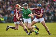 11 March 2018; Kyle Hayes of Limerick in action against Conor Whelan, left, and Johnny Coen of Galway during the Allianz Hurling League Division 1B Round 5 match between Galway and Limerick at Pearse Stadium in Galway. Photo by Diarmuid Greene/Sportsfile