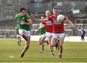 11 March 2018; Donal Keogan of Meath in action against Sean White of Cork during the Allianz Football League Division 2 Round 5 match between Meath and Cork at Páirc Tailteann in Navan, Co Meath. Photo by Oliver McVeigh/Sportsfile