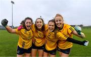 11 March 2018; DCU players from left, Muireann Atkinson, Aishling Sheridan, Sarah Rowe and Aishling Moloney after the Gourmet Food Parlour HEC O'Connor Cup Final match between UL and DCU at the GAA National Games Development Centre in Abbotstown, Dublin. Photo by Eóin Noonan/Sportsfile