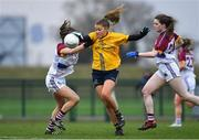 11 March 2018; Sarah Rowe of DCU action against Anna Healy of UL during the Gourmet Food Parlour HEC O'Connor Cup Final match between UL and DCU at the GAA National Games Development Centre in Abbotstown, Dublin. Photo by Eóin Noonan/Sportsfile