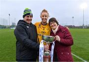 11 March 2018; Aishling Moloney of DCU with her parents, Martin and Gertie after the Gourmet Food Parlour HEC O'Connor Cup Final match between UL and DCU at the GAA National Games Development Centre in Abbotstown, Dublin. Photo by Eóin Noonan/Sportsfile