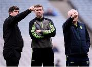 11 March 2018; Kerry manager Eamonn Fitzmaurice, left, with selectors Pádraig Corcoran and Mikey Sheehy, right, prior to the Allianz Football League Division 1 Round 5 match between Dublin and Kerry at Croke Park in Dublin. Photo by Stephen McCarthy/Sportsfile
