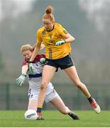 11 March 2018; Aishling Moloney of DCU action against Louise Ward of UL during the Gourmet Food Parlour HEC O'Connor Cup Final match between UL and DCU at the GAA National Games Development Centre in Abbotstown, Dublin. Photo by Eóin Noonan/Sportsfile