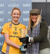 11 March 2018; Gourmet Food Parlour Managing Director Lorraine Heskin presenting the player of the match award to DCU captain Aishling Moloney after the Gourmet Food Parlour HEC O'Connor Cup Final match between UL and DCU at the GAA National Games Development Centre in Abbotstown, Dublin. Photo by Eóin Noonan/Sportsfile
