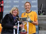11 March 2018; Marie Hickey, LGFA president, presenting the O'Connor cup to DCU captain Aishling Moloney after the Gourmet Food Parlour HEC O'Connor Cup Final match between UL and DCU at the GAA National Games Development Centre in Abbotstown, Dublin. Photo by Eóin Noonan/Sportsfile