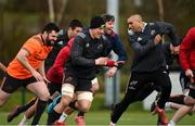 12 March 2018; Kevin O'Byrne, Robin Copeland, and Simon Zebo during Munster Rugby squad training at the University of Limerick in Limerick. Photo by Diarmuid Greene/Sportsfile