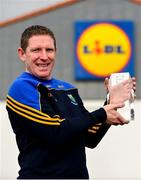 12 March 2018; The Lidl/Irish Daily Star Manager of the Month for February was announced today as Mick O'Rourke from Wicklow. Under Mick's guidance, Wicklow boast a 100 per cent record to date in Division 4 of the 2018 Lidl Ladies National Football League. Pictured is Mick O'Rourke with his award at Lidl in Naas. Photo by Sam Barnes/Sportsfile
