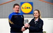 12 March 2018; The Lidl/Irish Daily Star Manager of the Month for February was announced today as Mick O'Rourke from Wicklow. Under Mick's guidance, Wicklow boast a 100 per cent record to date in Division 4 of the 2018 Lidl Ladies National Football League. Mick was presented with the award by Dawn Hayden, Deputy Store Manager, Lidl, Naas. Photo by Sam Barnes/Sportsfile