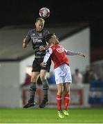 12 March 2018; Chris Sheilds of Dundalk in action against Darragh Markey of St Patrick's Athletic during the SSE Airtricity League Premier Division match between St Patrick's Athletic and Dundalk at Richmond Park in Dublin. Photo by Eóin Noonan/Sportsfile